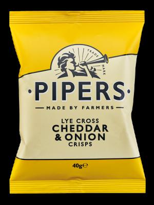 cheddar nb 40g 300x400 - Pipers Lye Cross Cheddar & Onion Crisps 40 gr